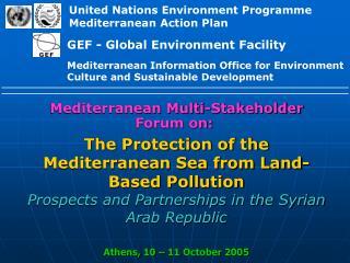 Mediterranean Multi-Stakeholder Forum on: