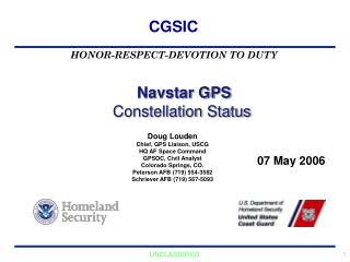 Navstar GPS  Constellation Status