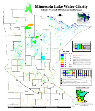 Minnesota Lake Water Clarity Estimated From Early 1990's Landsat Satellite Images