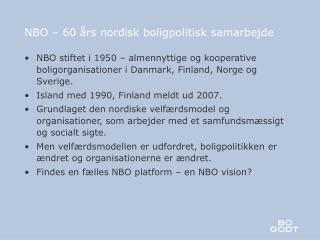 NBO – 60 års nordisk boligpolitisk samarbejde