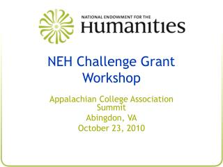 NEH Challenge Grant Workshop