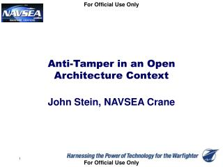 Anti-Tamper in an Open Architecture Context