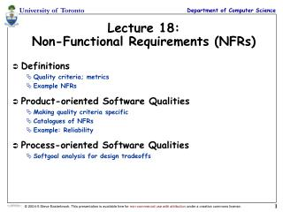 Lecture 18: Non-Functional Requirements (NFRs)