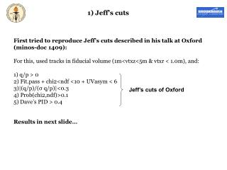 First tried to reproduce Jeff's cuts described in his talk at Oxford (minos-doc 1409):