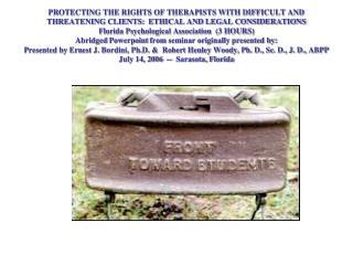 Presenters: Robert Henley Woody, Ph. D., Sc. D., J. D., ABPP