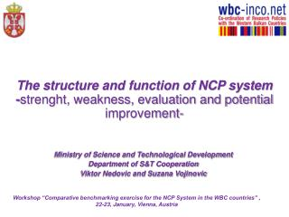 Ministry of Science and Technological Development  Department of S&T Cooperation