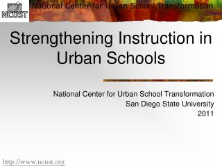 Strengthening Instruction in Urban Schools
