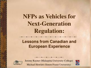 NFPs as Vehicles for  Next-Generation Regulation: