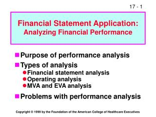 Financial Statement Application: Analyzing Financial Performance