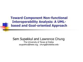 Toward Component Non-functional Interoperability Analysis: A UML-based and Goal-oriented Approach