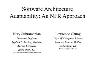 Software Architecture Adaptability: An NFR Approach