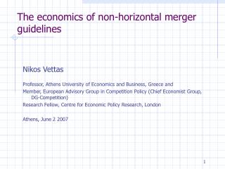 The economics of non-horizontal merger guidelines