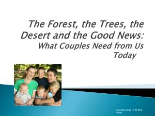 The Forest, the Trees, the Desert and the Good News:  What Couples Need from Us Today