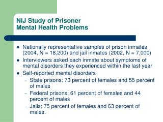 NIJ Study of Prisoner Mental Health Problems