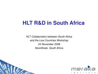 HLT R&D in South Africa