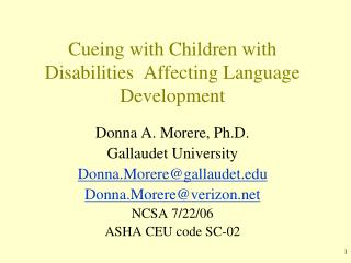 Cueing with Children with Disabilities  Affecting Language Development