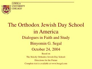 The Orthodox Jewish Day School in America