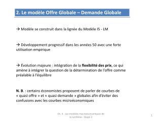 2. Le mod�le Offre Globale � Demande Globale