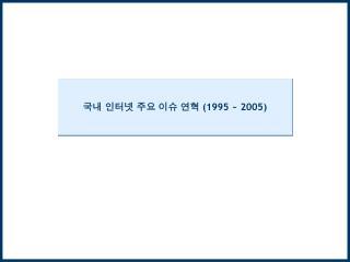국내 인터넷 주요 이슈 연혁  (1995 ~ 2005)