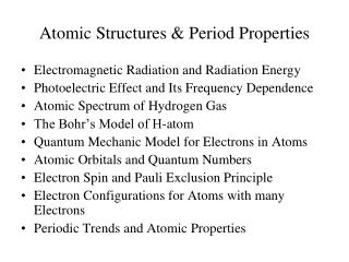 Atomic Structures & Period Properties