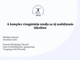 Mihálka Gáborné főosztályvezető Nemzeti Munkaügyi Hivatal Szak és Felnőttképzési  Igazgatóság