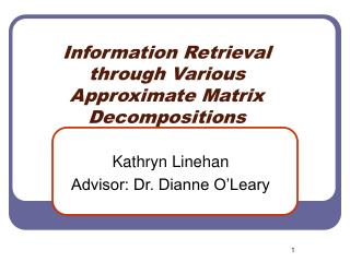 Information Retrieval through Various Approximate Matrix Decompositions