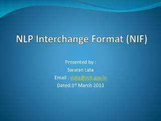 NLP Interchange  Format (NIF )