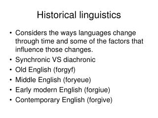 Historical linguistics
