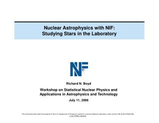 Nuclear Astrophysics with NIF: Studying Stars in the Laboratory