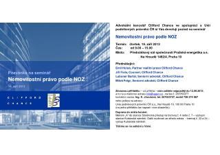 Pozvánka na seminář Nemovitostní právo podle NOZ 19. září 2013