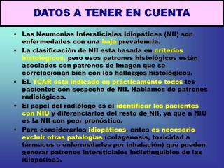 DATOS A TENER EN CUENTA
