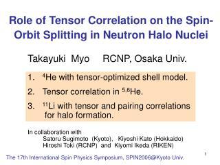 Role of Tensor Correlation on the Spin-Orbit Splitting in Neutron Halo Nuclei
