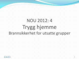 NOU 2012: 4  Trygg hjemme Brannsikkerhet  for  utsatte grupper