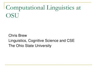 Computational Linguistics at OSU