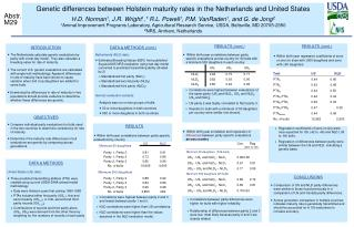 Genetic differences between Holstein maturity rates in the Netherlands and United States