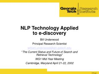 NLP Technology Applied  to e-discovery