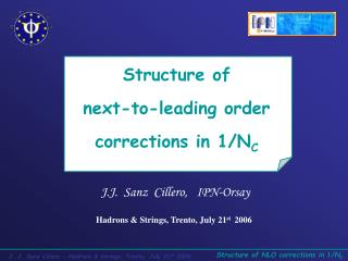 Structure of           next-to-leading order  corrections in 1/N C
