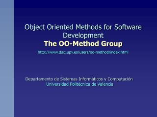 Departamento de Sistemas Informáticos y Computación Universidad Politécnica de Valencia