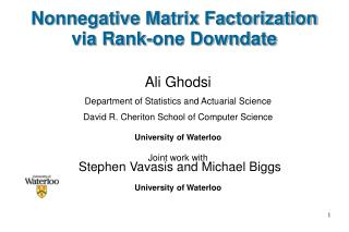 Nonnegative Matrix Factorization via Rank-one Downdate