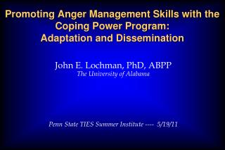 Promoting Anger Management Skills with the Coping Power Program:  Adaptation and Dissemination