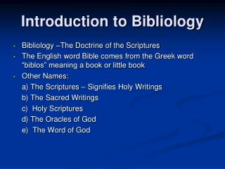 Introduction to Bibliology