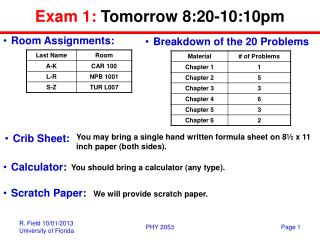 Exam 1:  Tomorrow 8:20-10:10pm