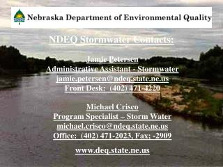 NDEQ Stormwater Contacts: