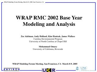 WRAP RMC 2002 Base Year  Modeling and Analysis