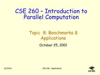 CSE 260 � Introduction to Parallel Computation