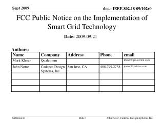 FCC Public Notice on the  Implementation  of Smart  Grid Technology