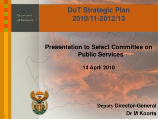 DoT Strategic Plan 2010/11-2012/13