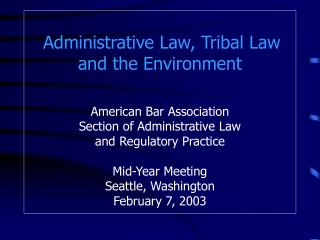 Tribal Environmental Protection