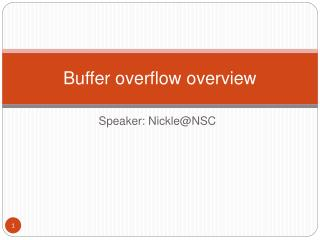 Buffer overflow overview