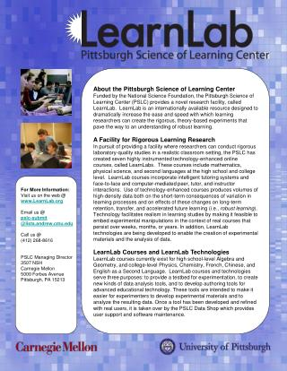 About the Pittsburgh Science of Learning Center